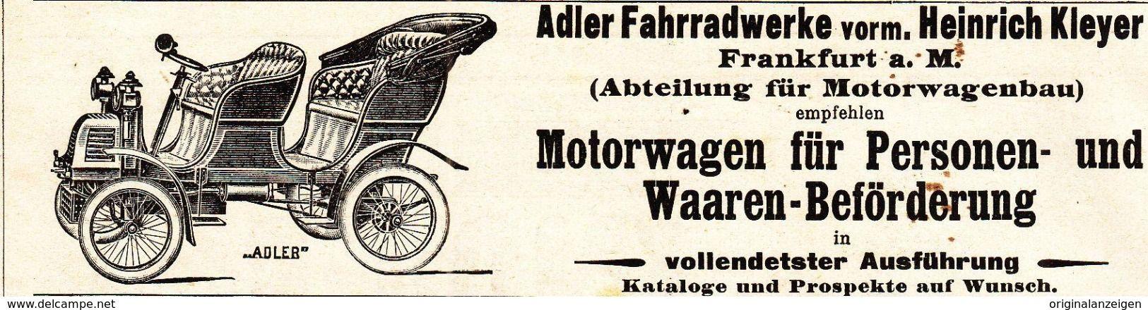 Werbung - Original-Werbung/ Anzeige 1901 - MOTORWAGEN / ADLER VORM. KLEYER - FRANKFURT a.M - ca. 135 x 35 mm