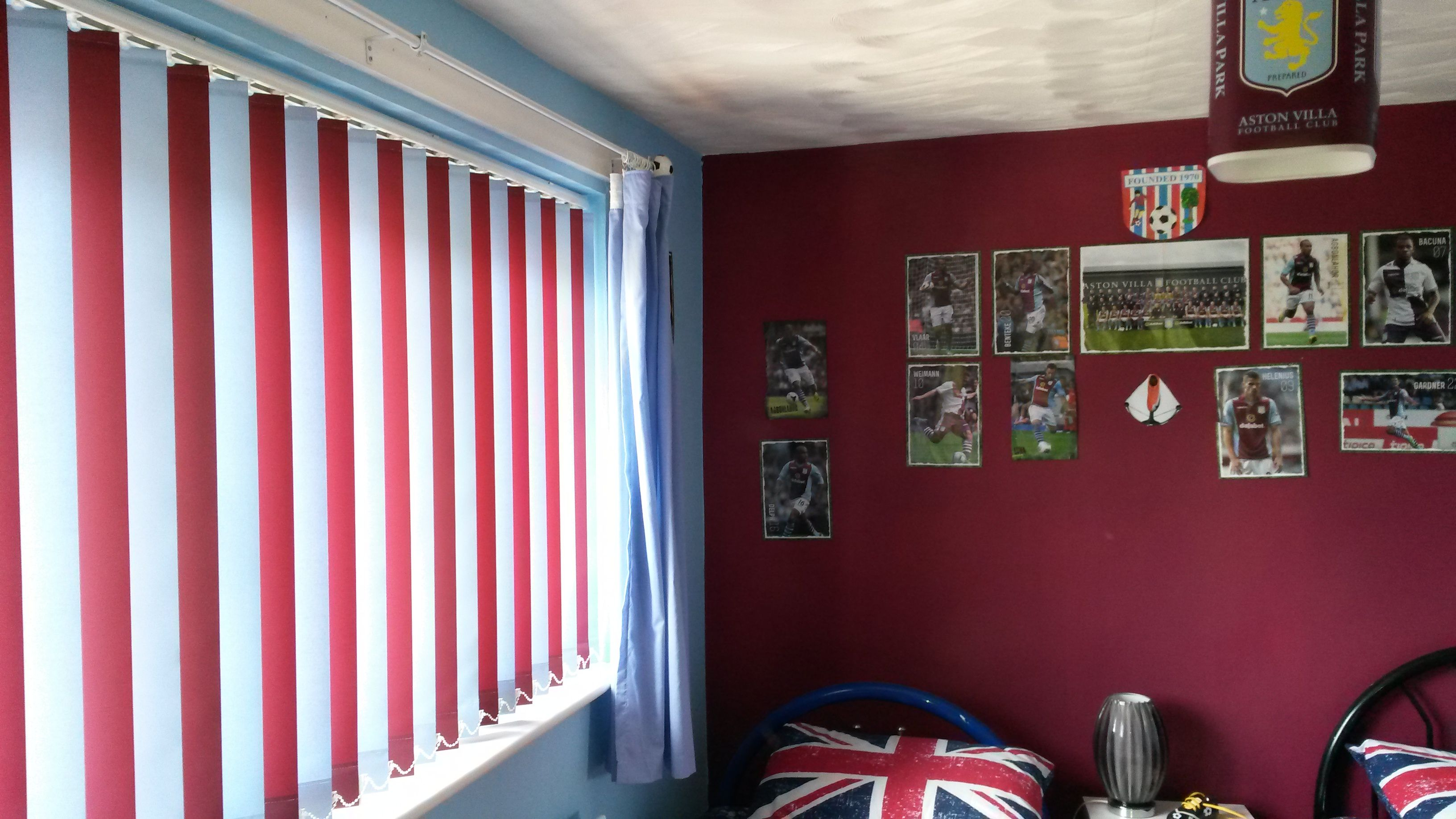 Kids Bedroom Blinds multi coloured, vertical blinds, football, aston villa. kids