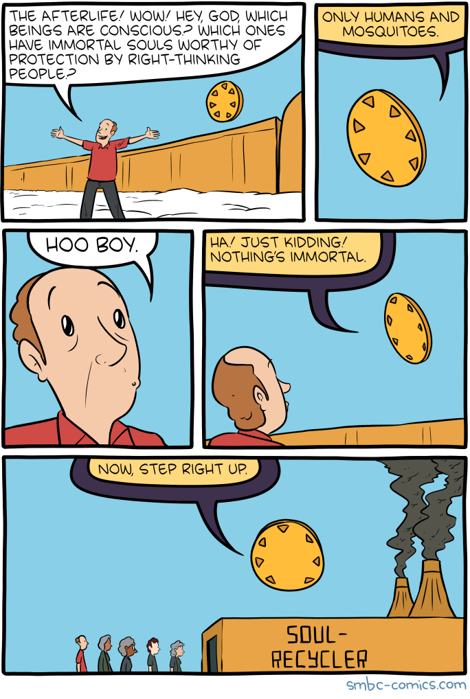 Saturday Morning Breakfast Cereal Conscious Click Here To Go See The Bonus Panel Hovertext Reduce Reuse Reincarnate Funny Comics Funny Memes Smbc Comics