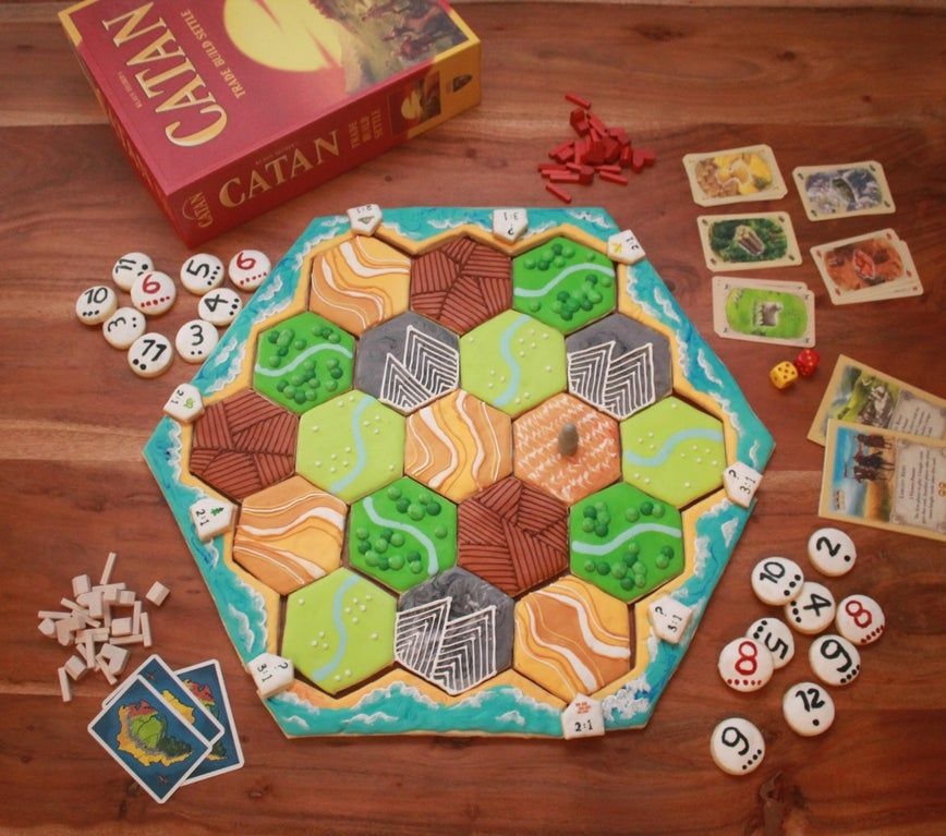 [Homemade] Royal icing sugar cookie Catan board food in