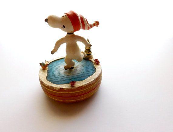 Vintage Peanuts Reuge Music Box Snoopy Ice by BerkshireShopGirl