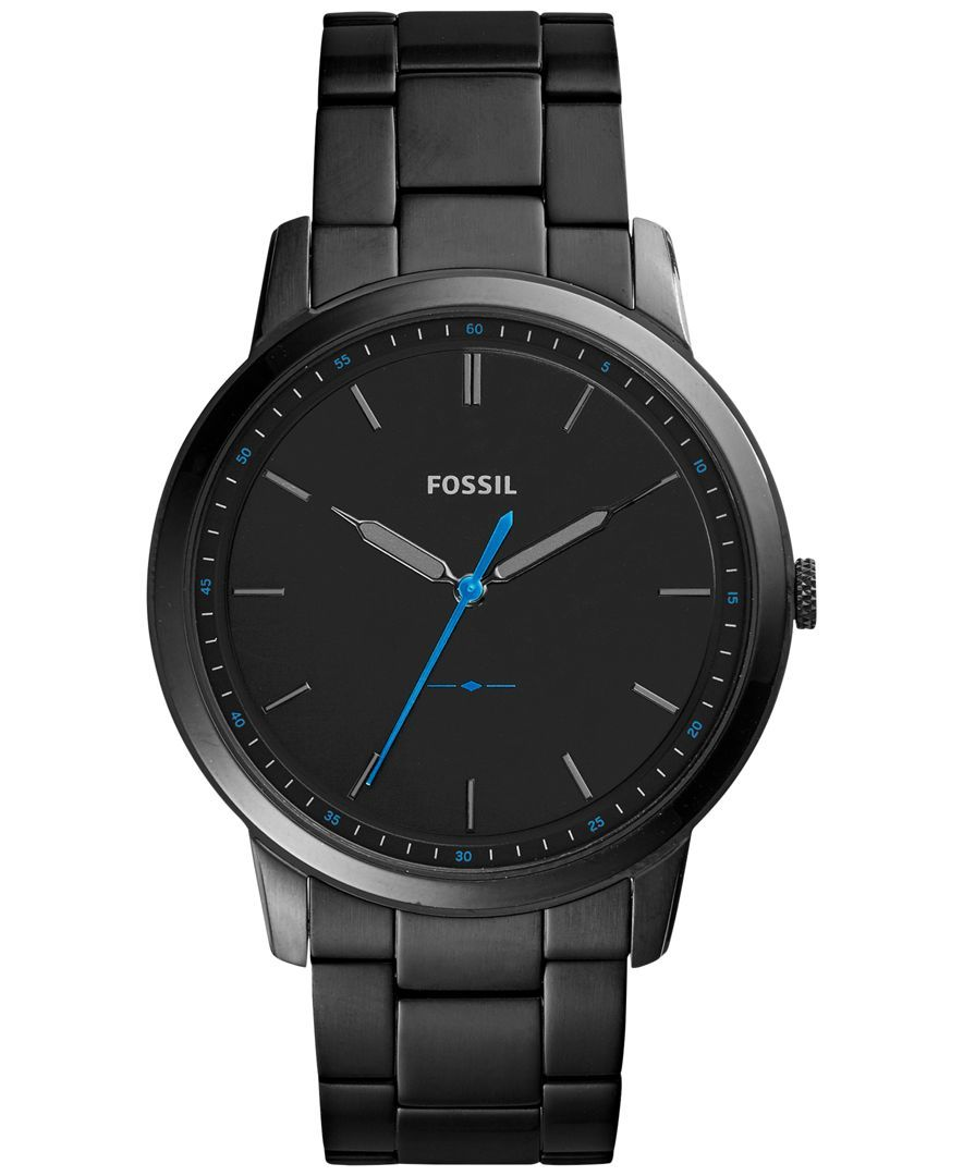 0d0226f31cf5 Fossil Men s The Minimalist Black Stainless Steel Bracelet Watch 44mm FS5308
