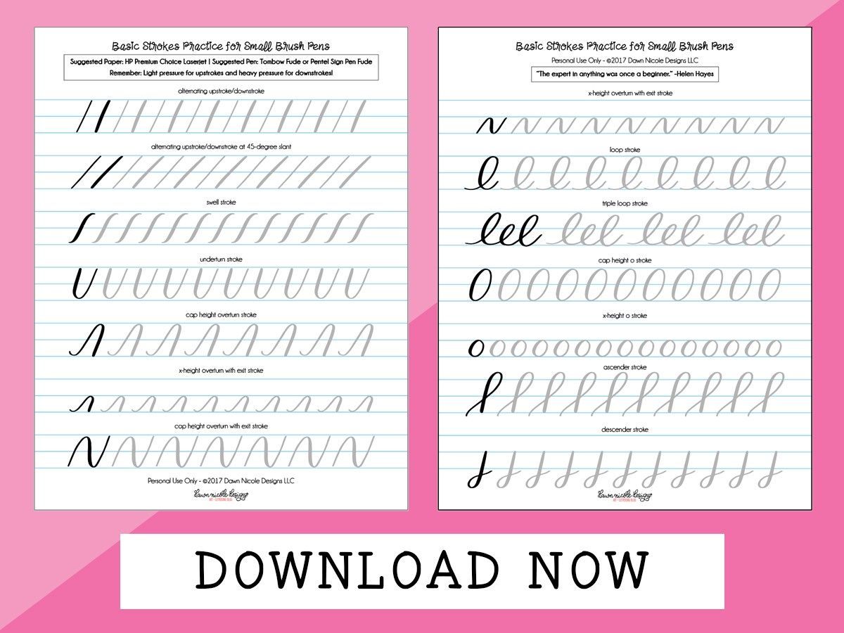 Best Brush Pen Calligraphy Worksheets Free