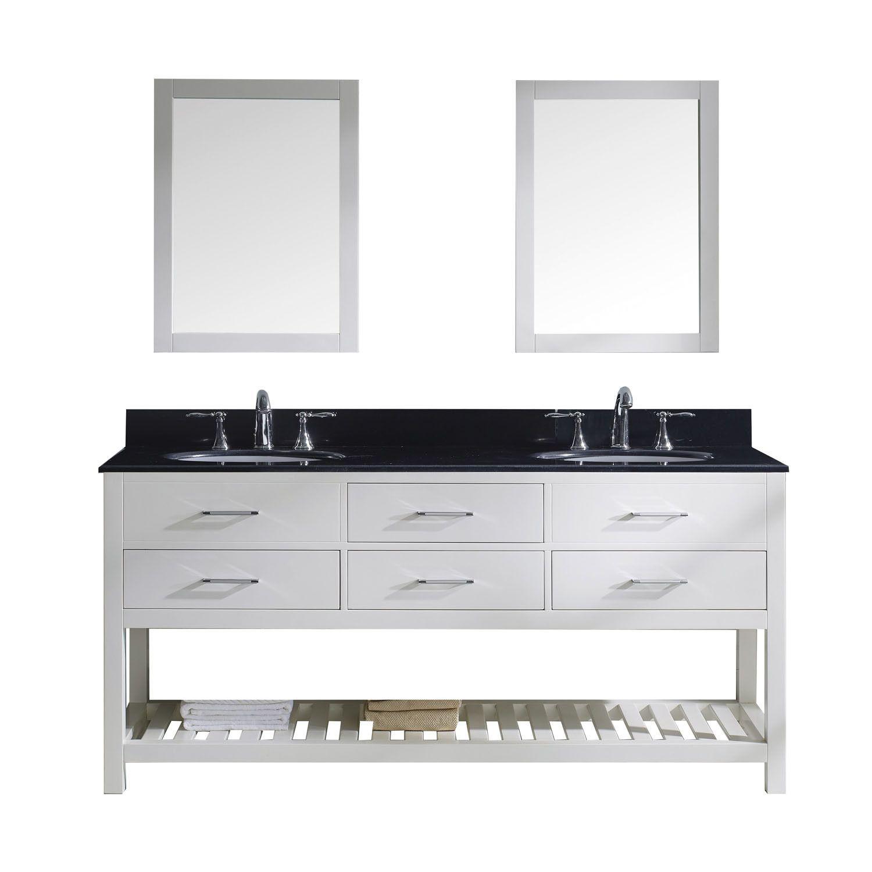 "Virtu USA Caroline Estate 72"" Double Round Sink White Top Vanity in White with Mirrors"