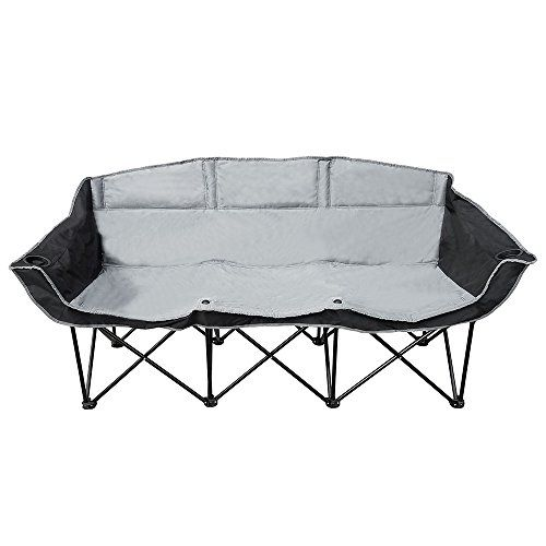 goteam 3 seat portable folding benchcouch blackgray you can find