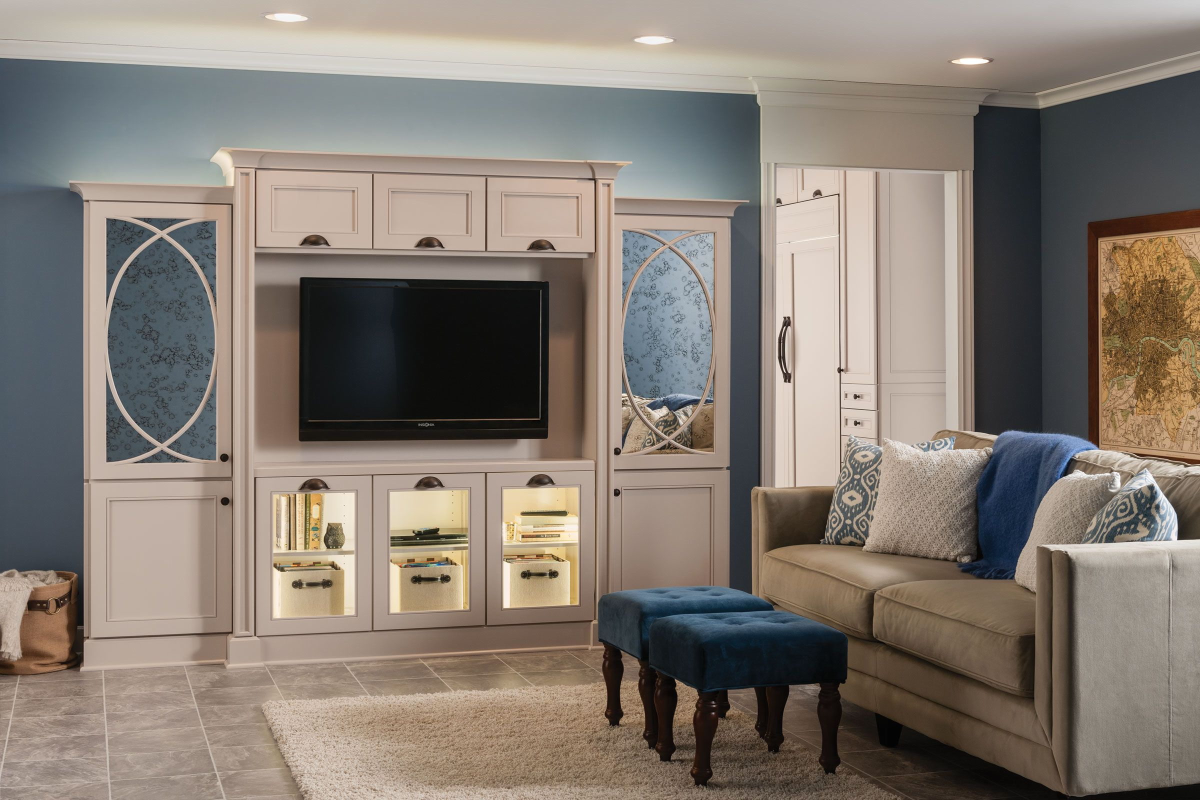 An entertainment center finished in kraftmaids chai paint