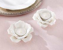 Blanco cerámica Rosa té titular luz conjunto de vela 2 velas de cerámica florero Tealights jardín Floral centro de mesa Tea Party mesa decoración de la boda