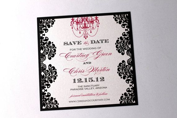Courtney Wedding Save the Date Sample Damask Style Black