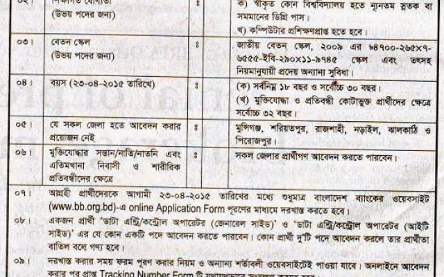 Bangladesh Bank Position Data Entry Control Operator General