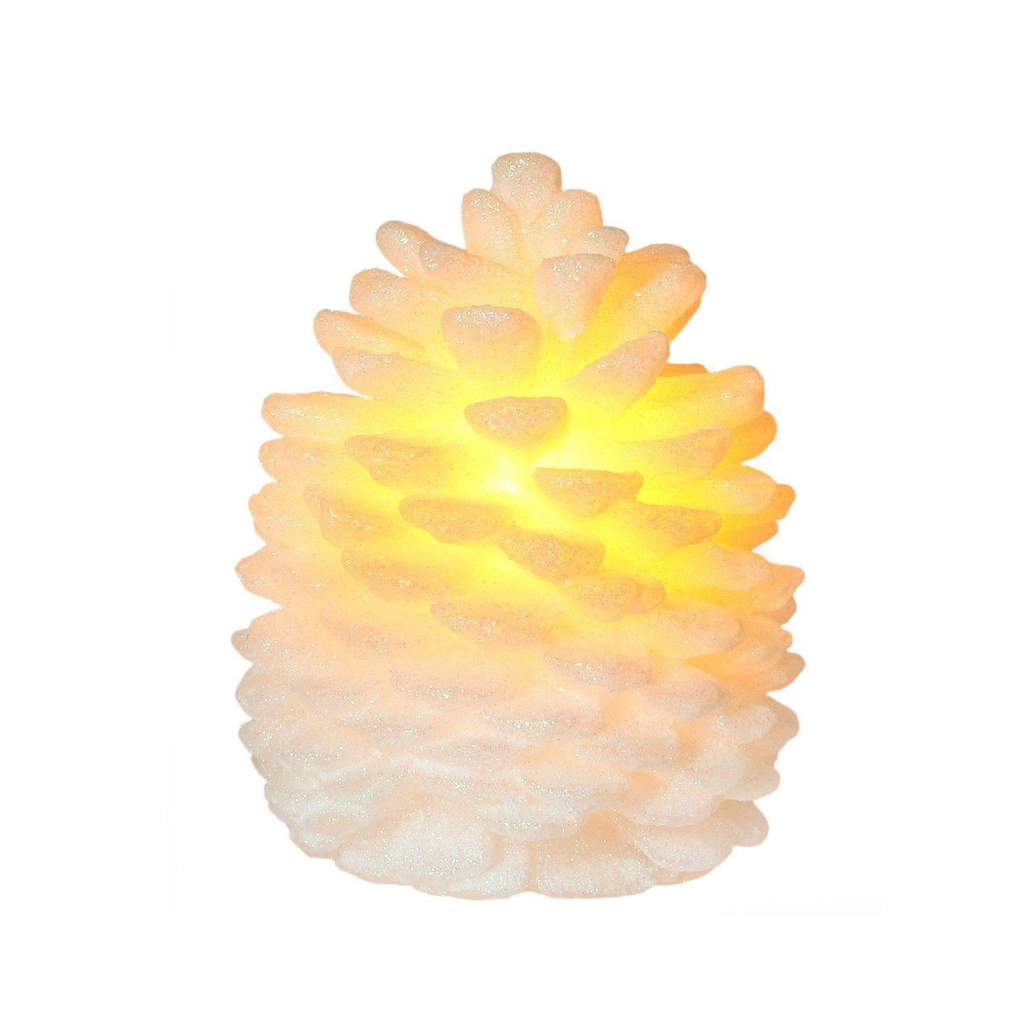 DFL 4X5 Inch Flameless Led Christmas Pine Cone Led Candle With Timer