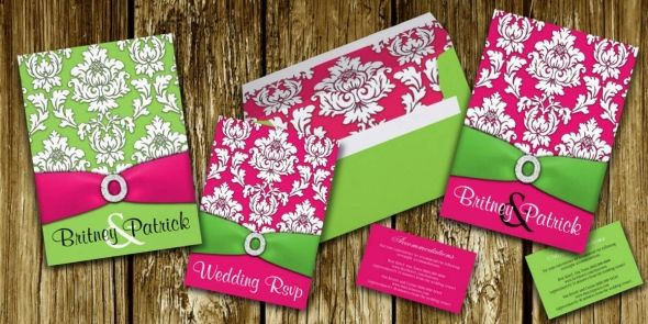 Hot Pink Lime Green Damask Decorative Wedding Invitations Suite Found Here Http
