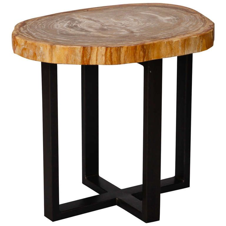 Small Side Table With Petrified Wood Top And Metal Legs 1stdibs