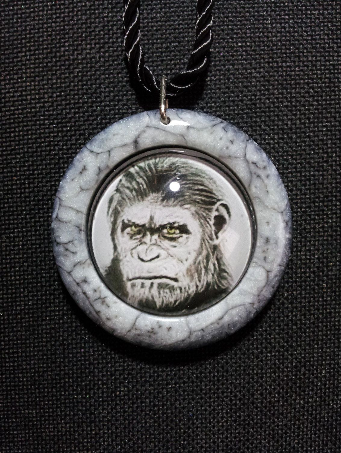 Caesar Necklace in black and white pearl resin + Free Shipping Worldwide ~ Ape Jewelry, Caesar Pendant, Caesar Art, Caesar Ape Drawing by OurArtyCreations on Etsy