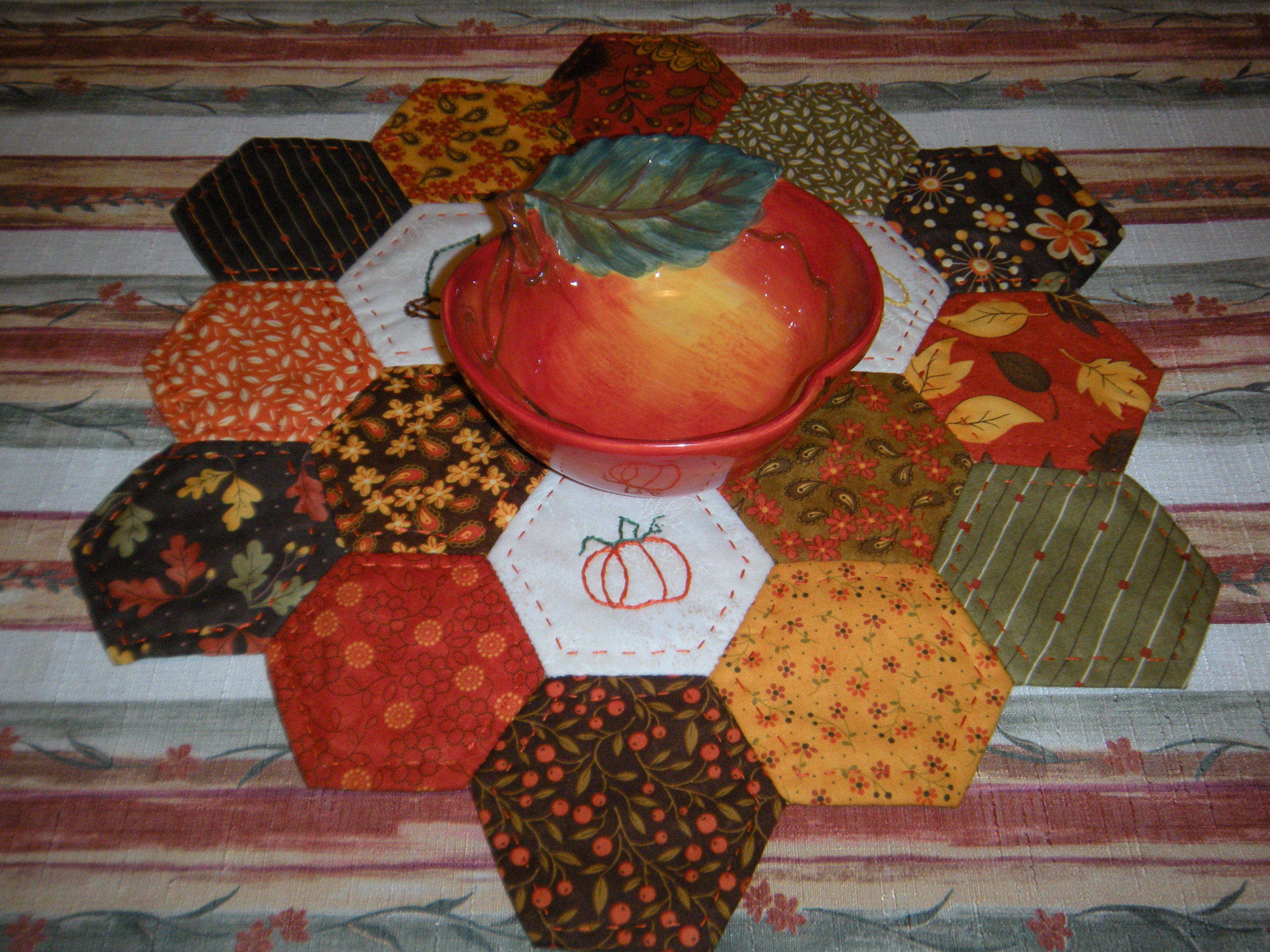 Hand Quilted Fall Hexagon Table Topper by Scrapatches