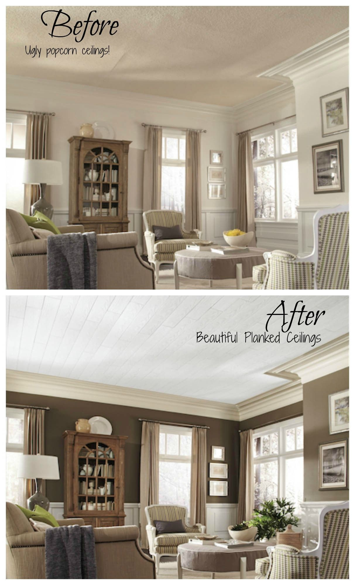 No more popcorn ceilings! Armstrong planked ceiling