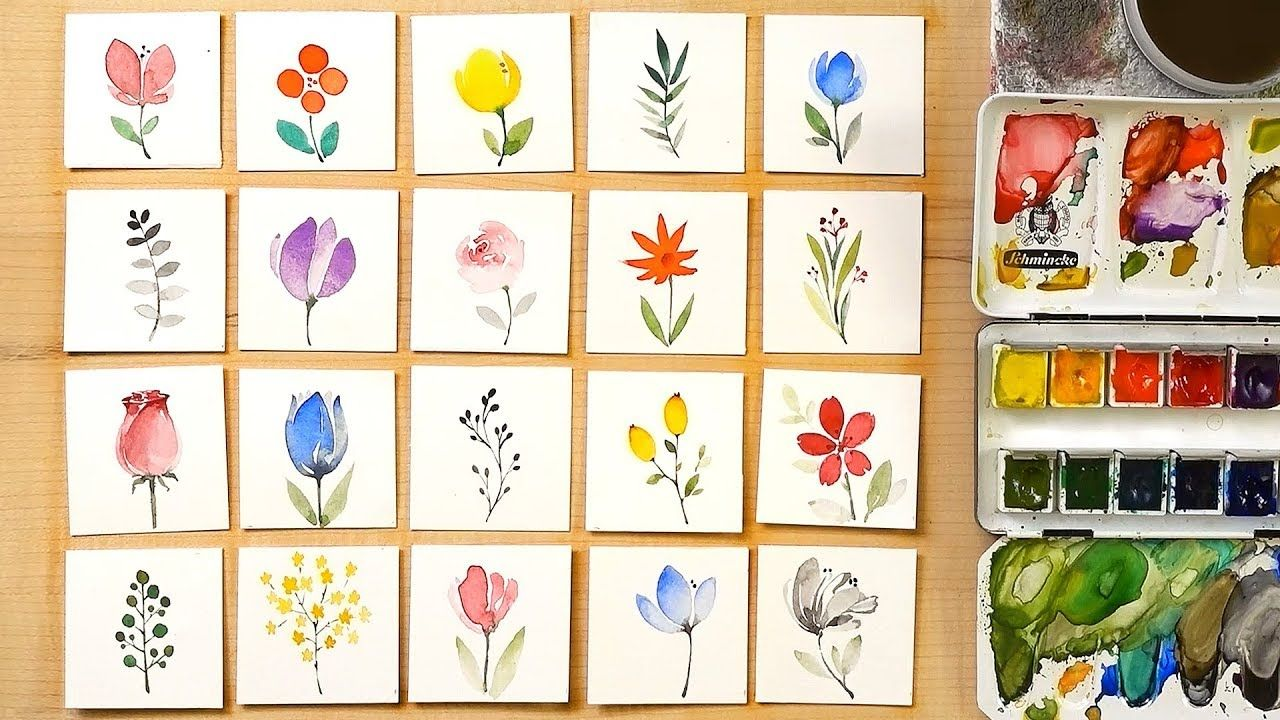 Easy Doodle Cards Painting For Beginners Youtube Flower