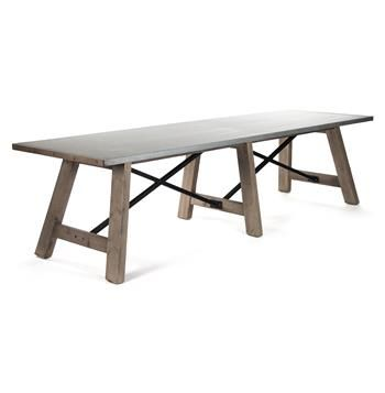 Calistoga Industrial Rustic Powder Coat Seat Metal Dining Table - 12 person picnic table