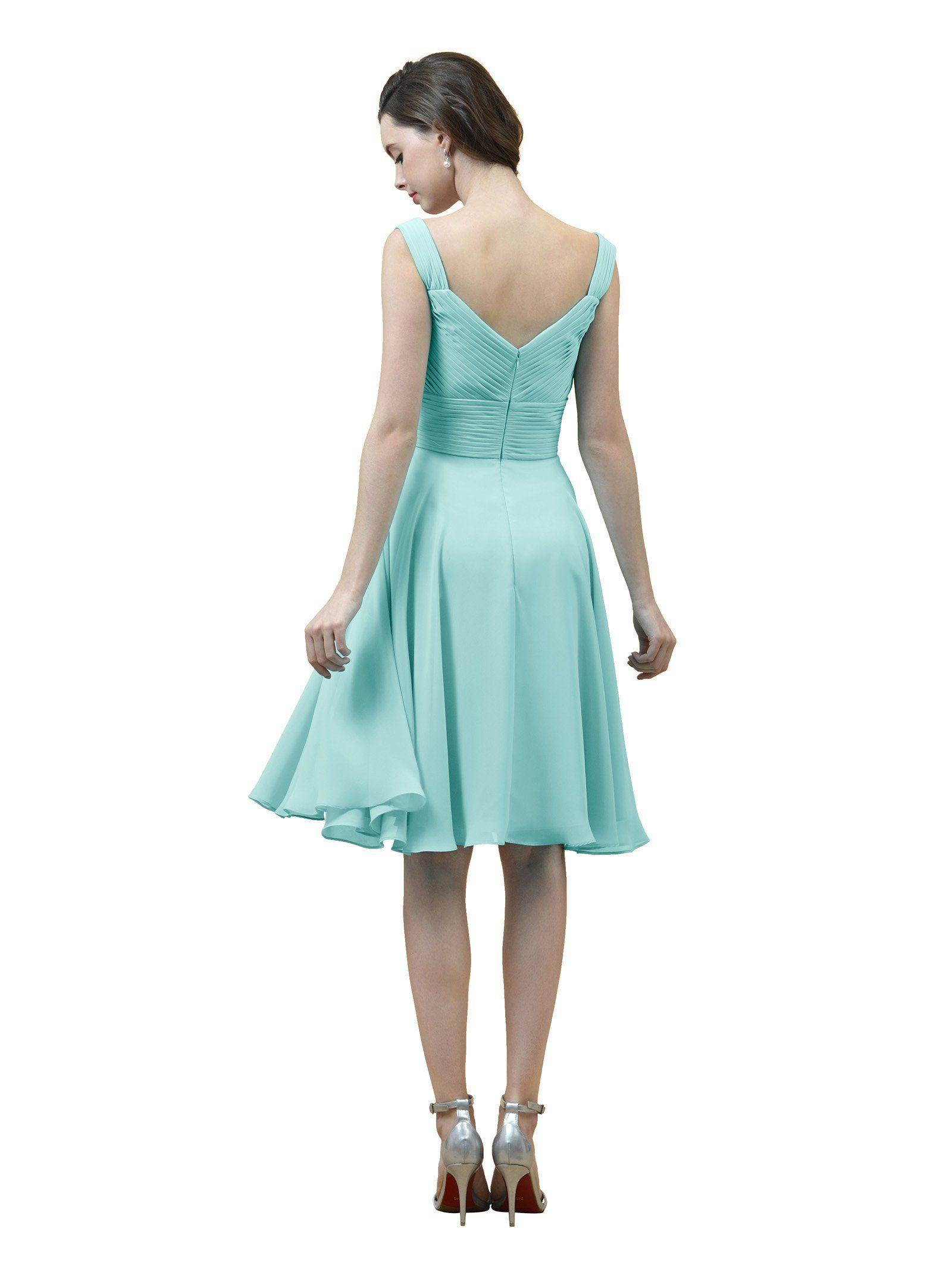 Alicepub short chiffon bridesmaid dress aline party prom gown