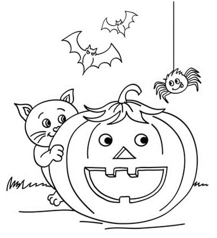 Pumpkin And Cat Pumpkin Coloring Pages Halloween Pumpkin