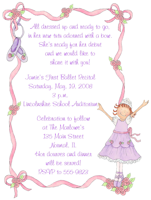 Purple Ballerina Birthday Party InvitationsPurple Ballerina Ballet
