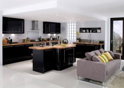 organisation cuisine noir laque plan de travail bois | Mezzanine