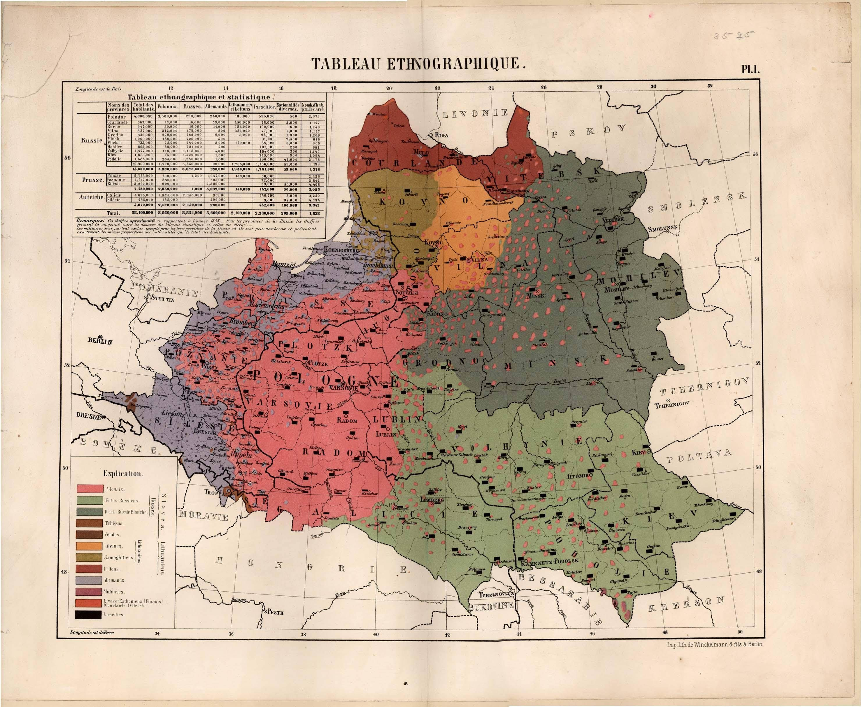 Ethnographic Map and Statistics of Partitioned Poland 1858 map