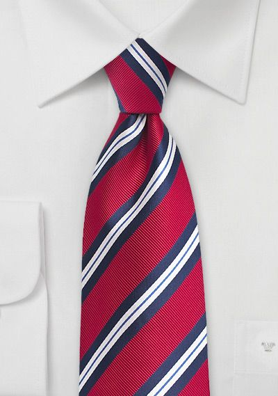 6279385a2b44 Preppy Striped Boys Tie in Red, White, Navy | Bows-N-Ties.com in ...