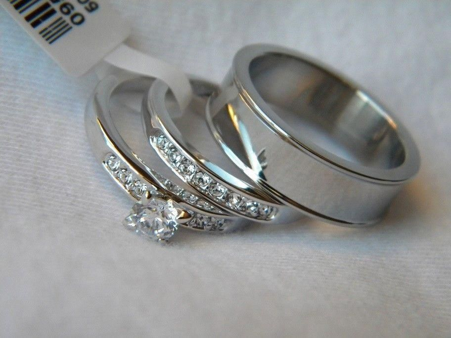 3 Piece His And Hers Wedding Ring Set Couples Wedding Rings Free Box Fast Jewelry W Wedding Ring Trio Sets Wedding Rings Sets Gold Couple Wedding Rings