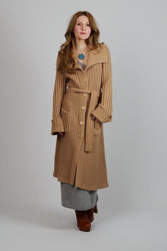 vintage 70s camel BELTED Cardigan Sweater Coat bell sleeve maxi long boho  hippie bohemian jacket knit 330938334
