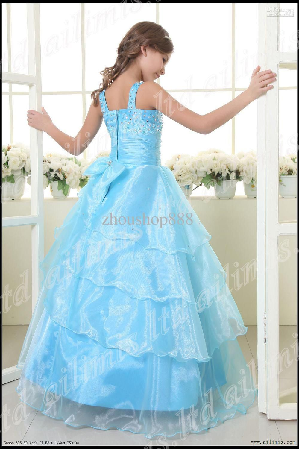pretty blue princess dress with sleeve | Blue Girl Kids Pageant ...