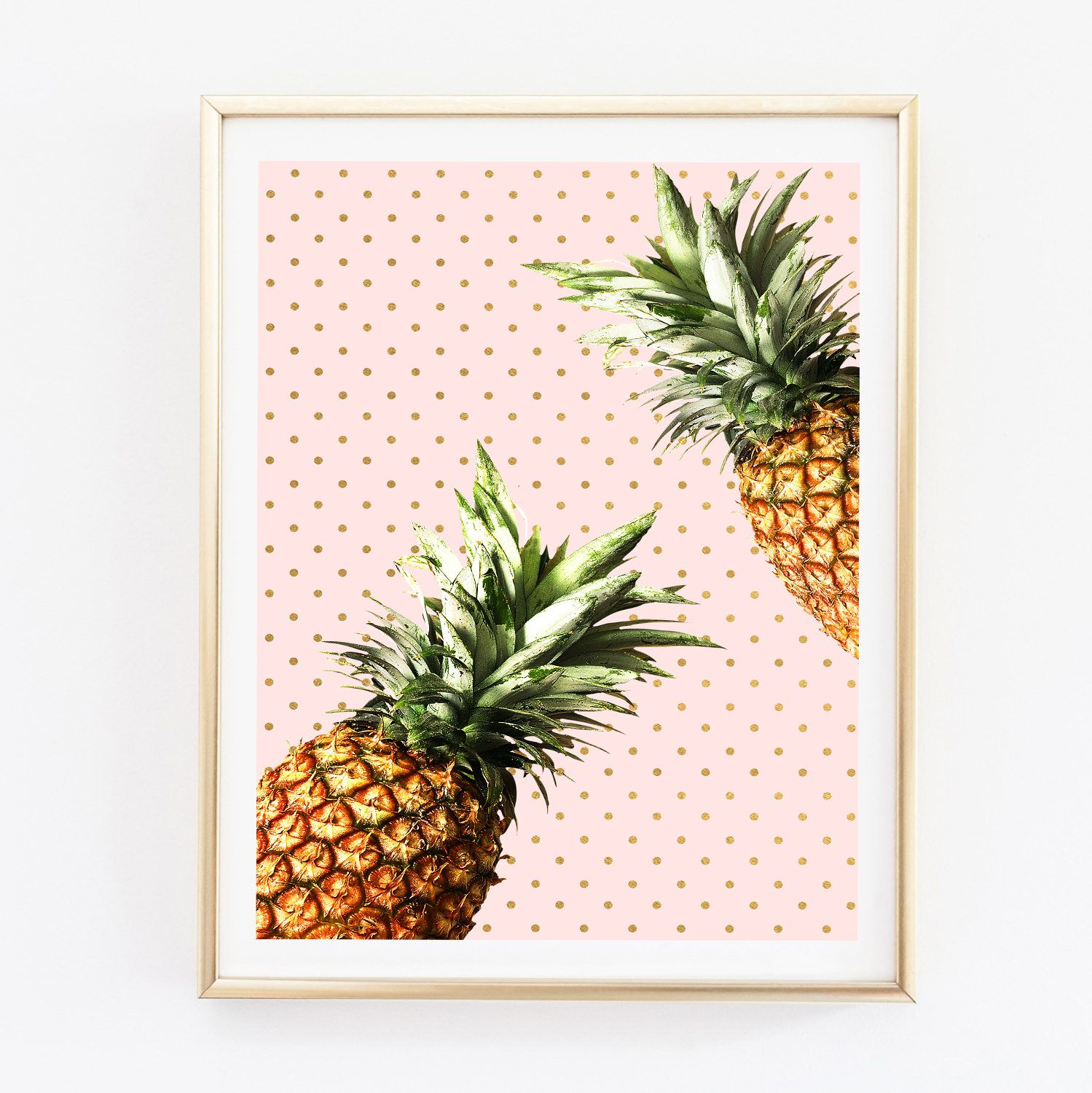 Pineapple Wall Art, Pineapple Print, Kitchen Wall Art, Tropical Fruit,  Tropical Decor, Modern Photography, Minimal Art, Pink Gold Printable
