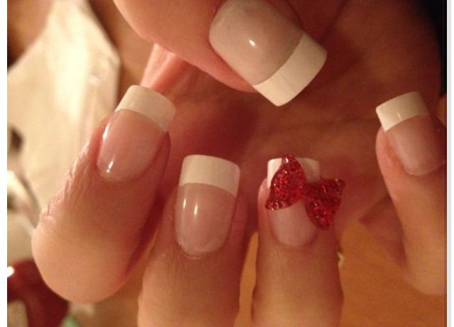 french with red bow acrylic nails