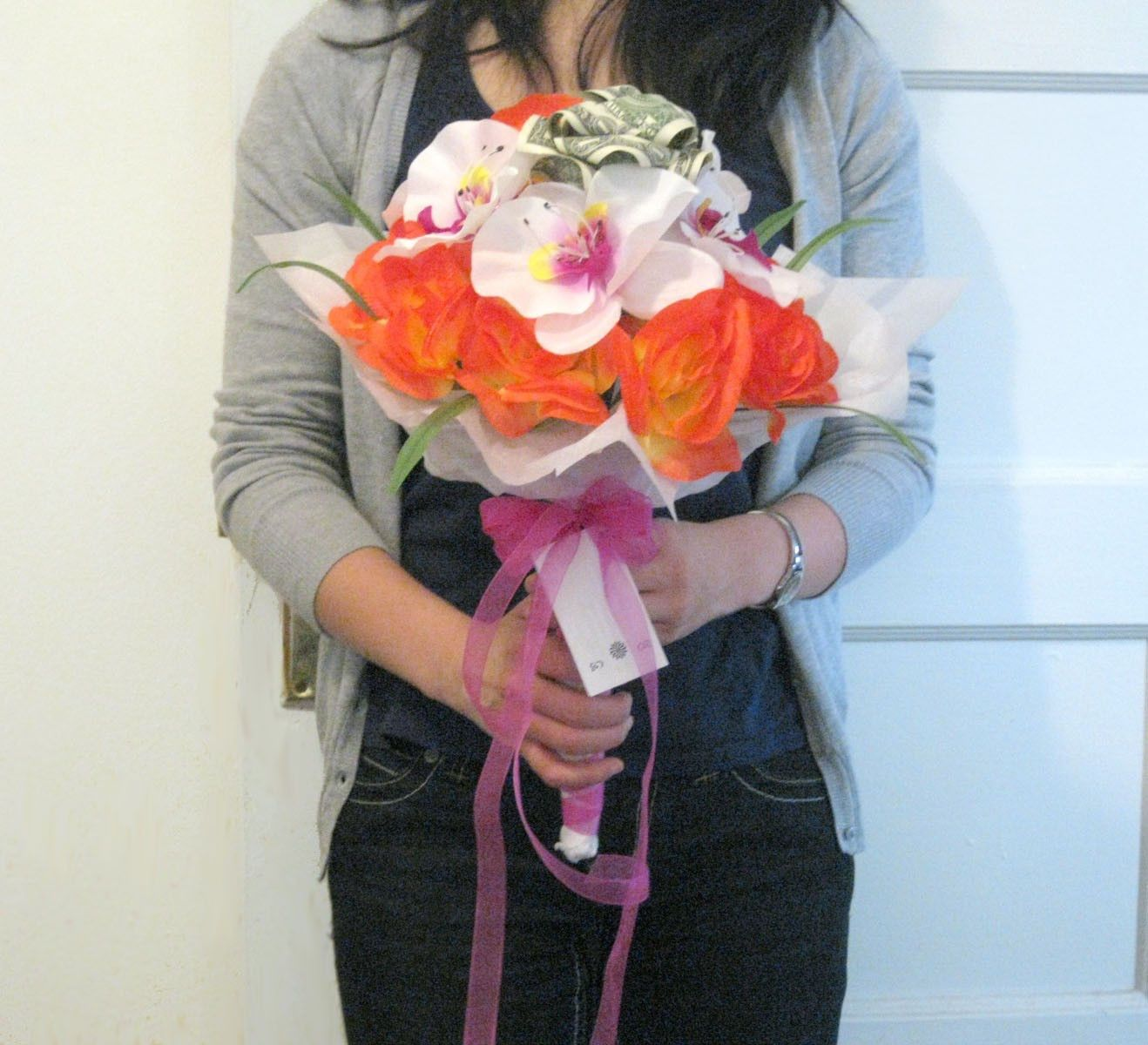 Wedding Throwing Flowers Money Origami - Dollar Bill Art