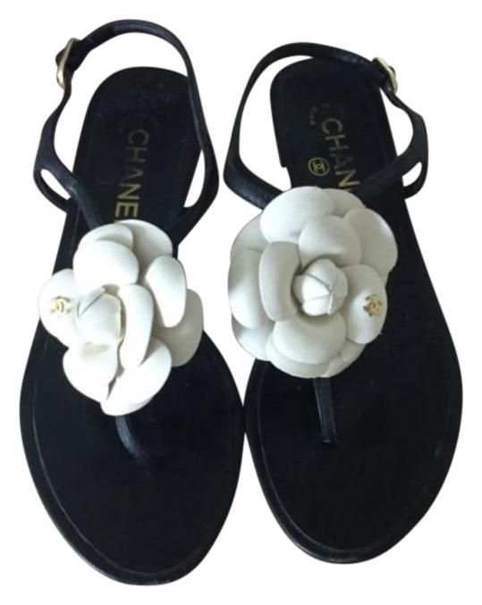 8b760f611dfe16 Chanel Cc Leather Ankle Strap Black With White Camellia Flower Sandals. Get  the must-have sandals of this season! These Chanel Cc Leather Ankle Strap  Black ...