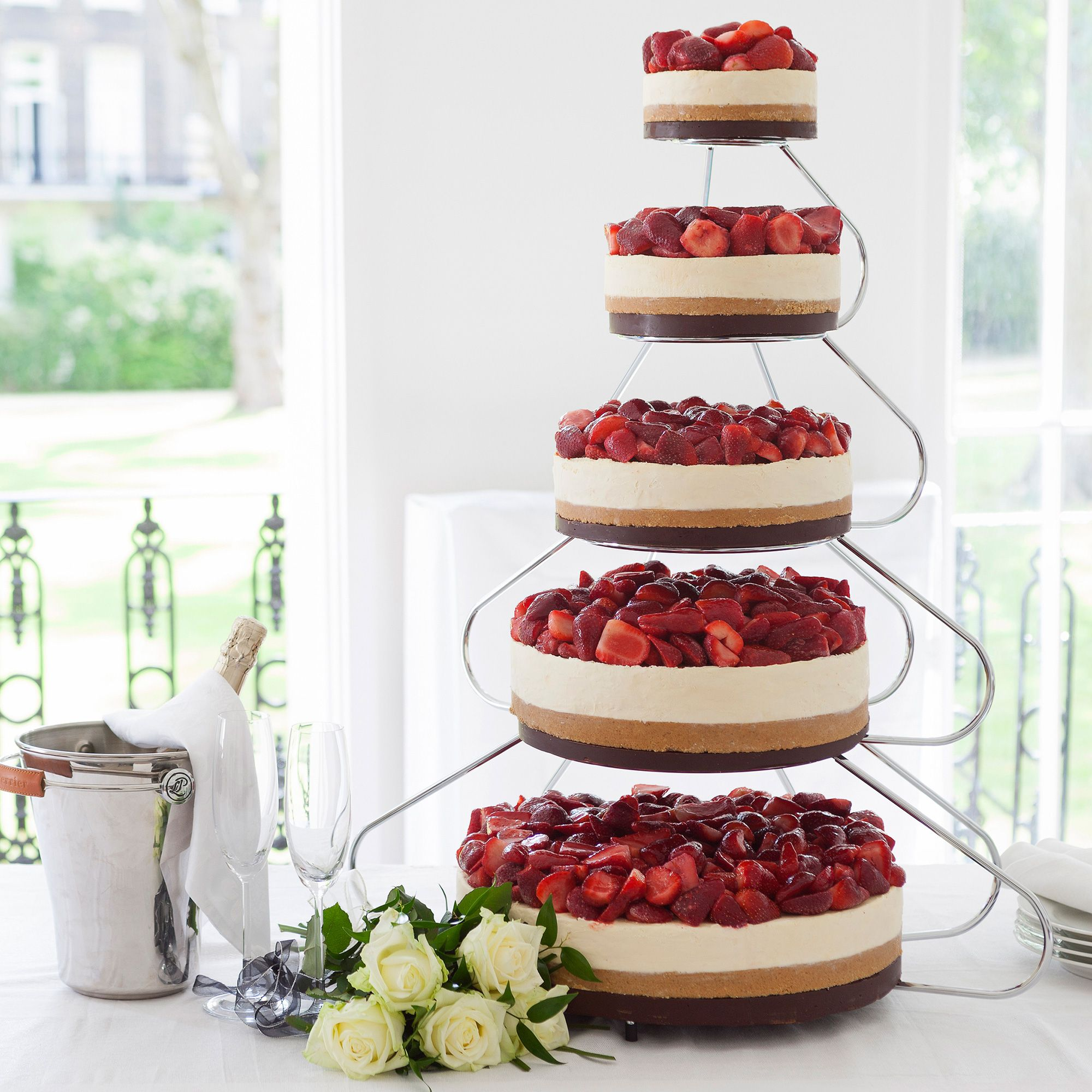5 tiered cheese wedding cake 5 tier strawberry amp celebration cheesecake with cake 10456