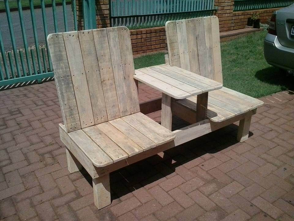Groovy Recycled Pallet Double Chair Bench Build Pallet Customarchery Wood Chair Design Ideas Customarcherynet
