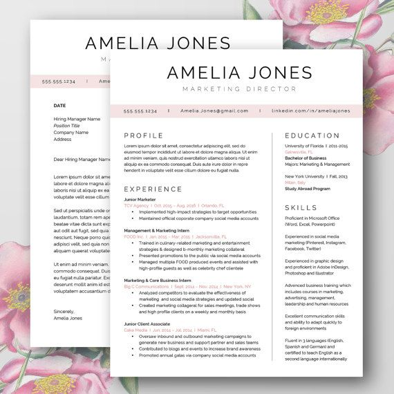 Beautiful Minimal Resume Cover Letter Templates Word Doc