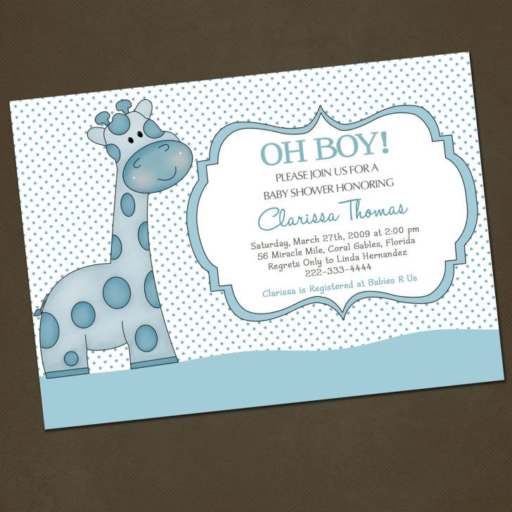 Funny Giraffe Baby Shower Invitation Wording Template Polkadot Invite