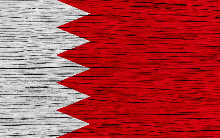 Download Wallpapers Flag Of Bahrain 4k Asia Wooden Texture