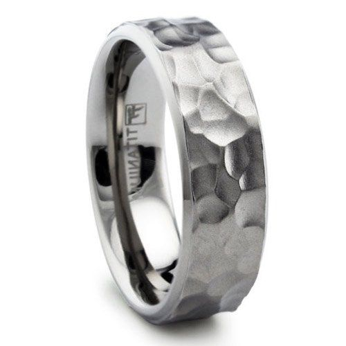 Herren Damen Titan Gehammert Matte Finish Ehering Ring 8mm Mit