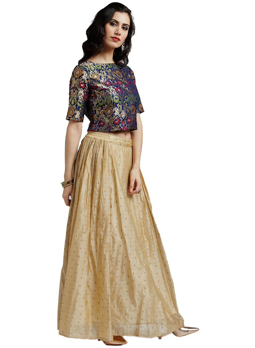 cd1bc5cf1 Jaipur Kurti Womens Multicolor Pure Silk Brocade Top with Chanderi Skirt --  Visit the image link even more information. (This is an affiliate link). # skirts