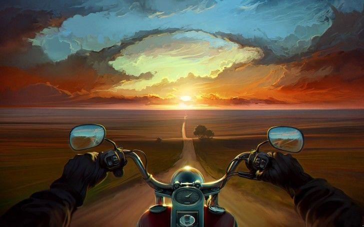 Bike Riding Into Sunset Artwork Free Hd Wallpaper