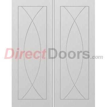 Image of Pesaro White Primed Flush Door Pair