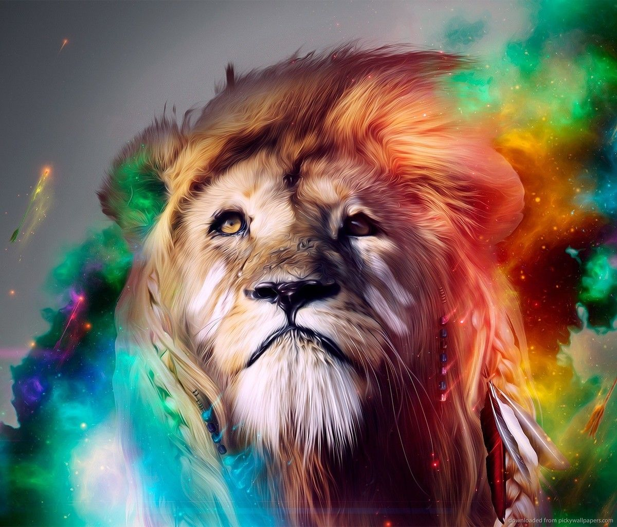 Colorful Lion Art For Samsung Galaxy Tab Wallpaper In 2019 Lion