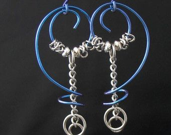 Artisan Free Form Metal Earrings, Niobium Wire, Stainless Steel Chain, Sterling Silver Beads