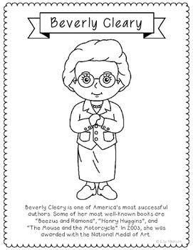 Beverly Cleary Famous Author Information Text Coloring Page