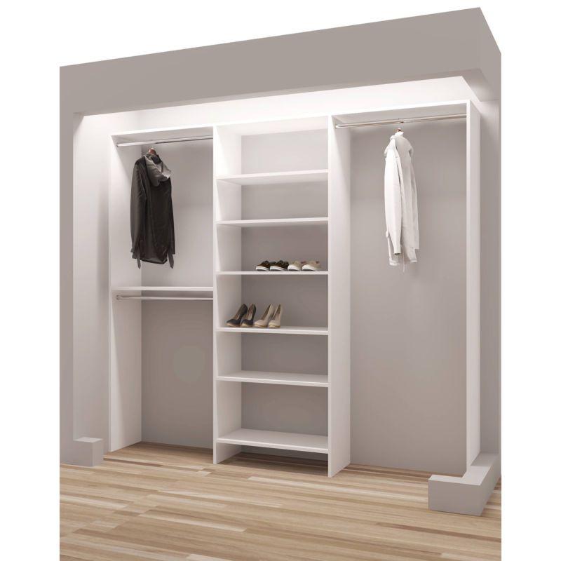 TidySquares Classic White Wood 93 Inch Reach In Closet Organizer #reach # Closet