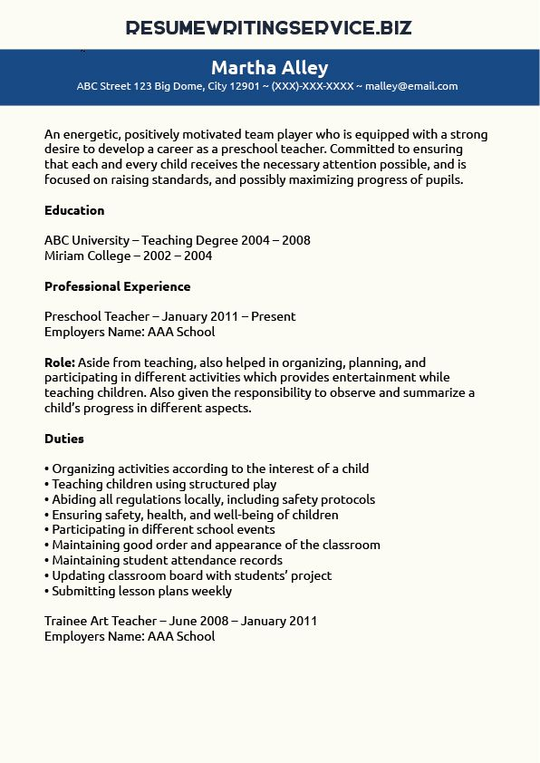 Preschool Teacher Resume Sample Career  Education Preschool