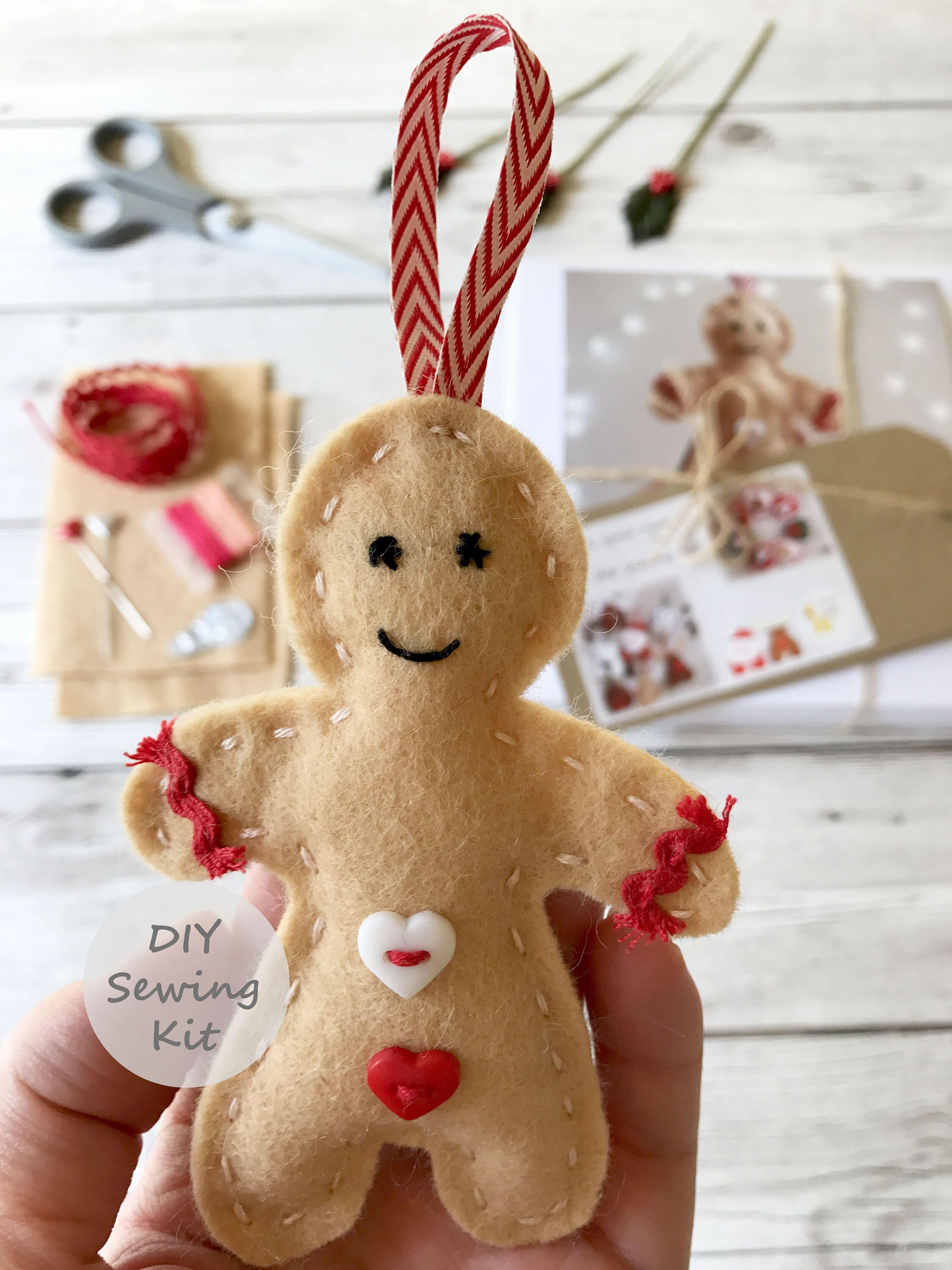 Felt Gingerbread Man Sewing Kit Make Your Own Christmas