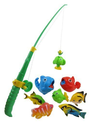 Rod and reel fishing bath toy set for kids with 8 unique for Fishing toy set